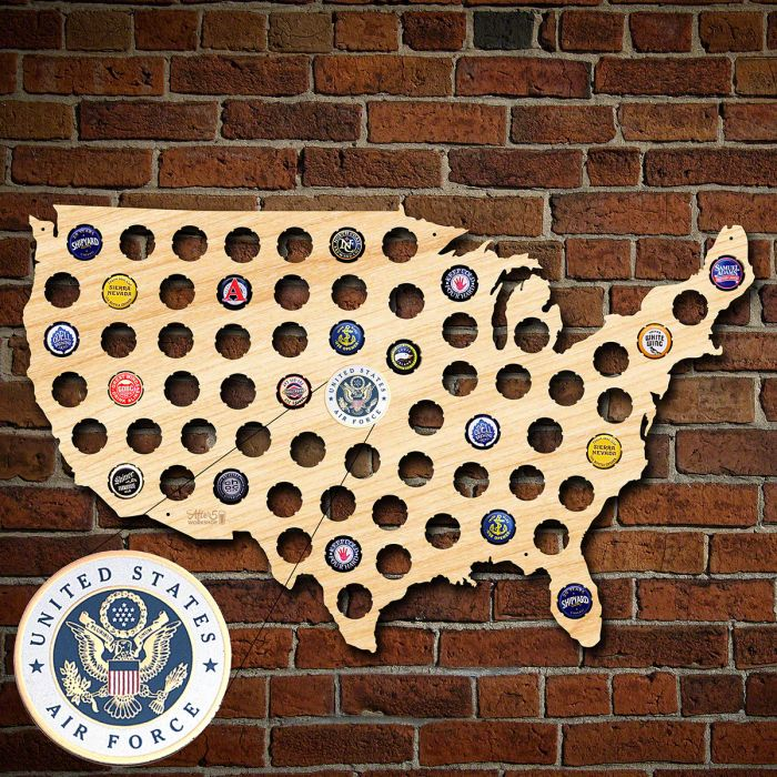 Air Force Beer Cap Map Of America - Beer Map Of The Us