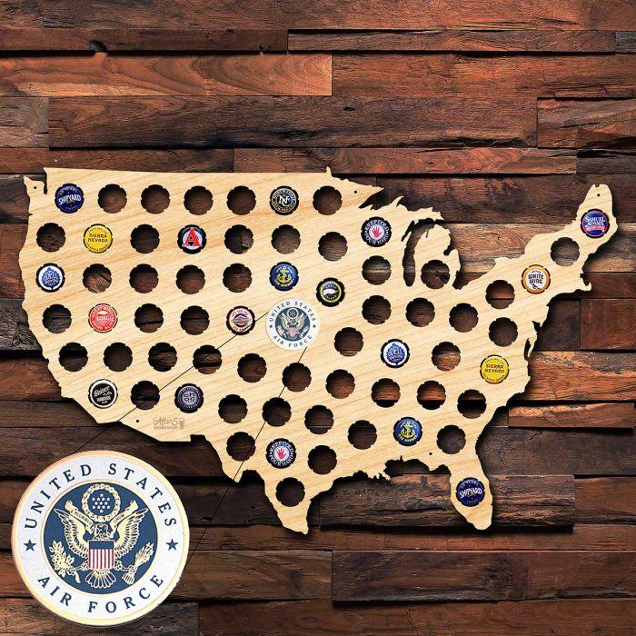 Air Force Beer Cap Map of America