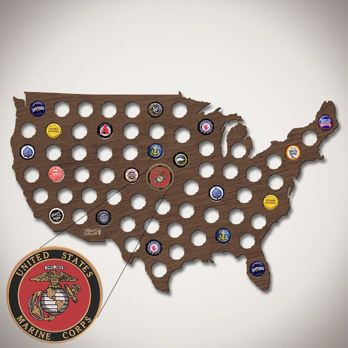 Marine Corp Beer Cap Map Of America - Beer Map Of The Us