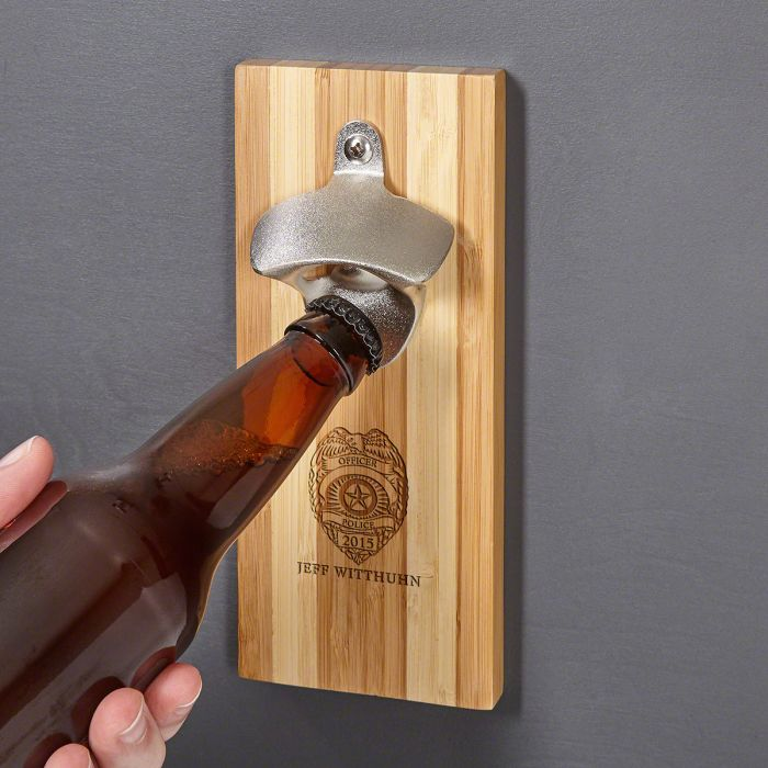 police badge custom magnetic wall mount bottle opener - Magnetic Bottle Opener