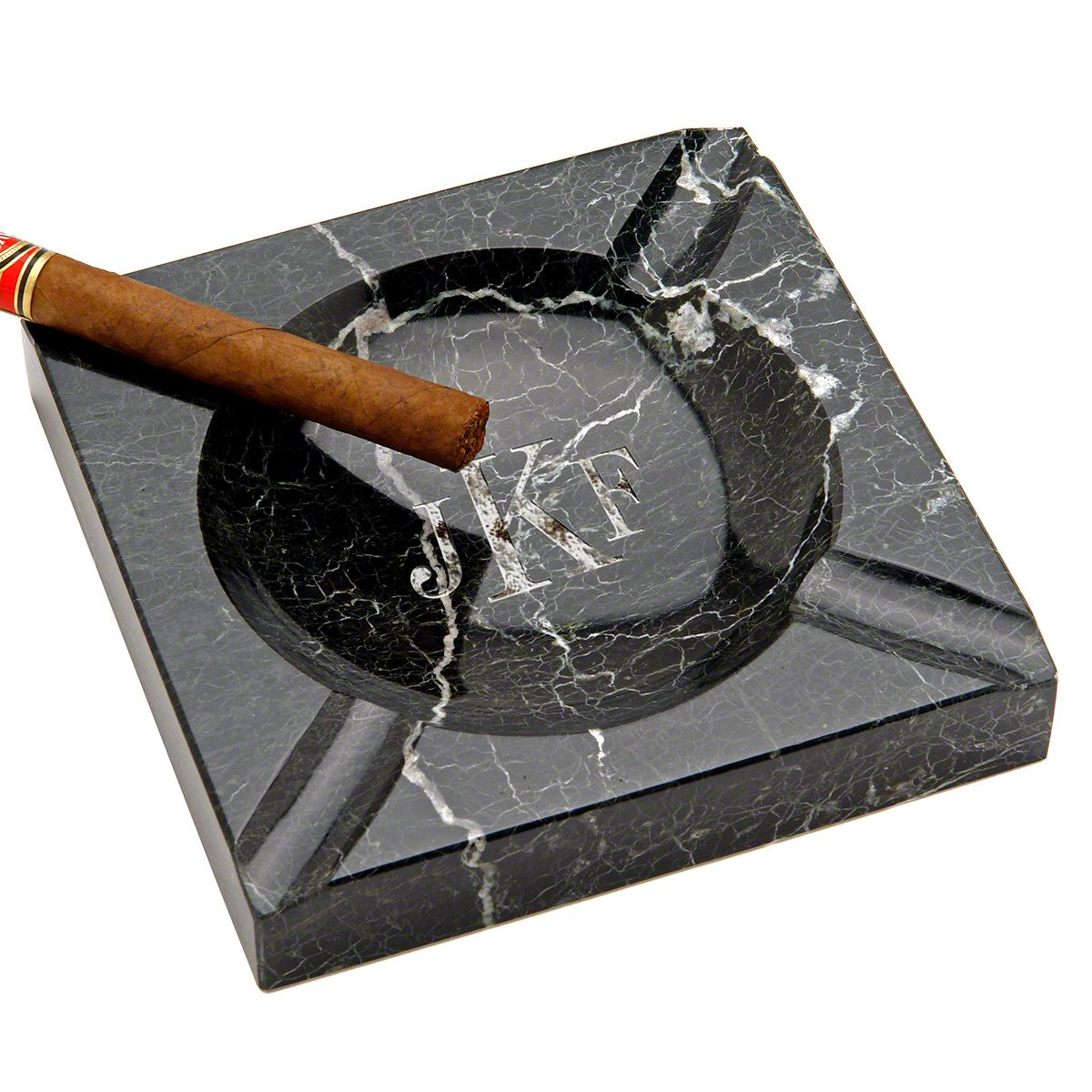 Black Square Marble Cigar Ashtray Indoor / Outdoor (Custom Engraving Available)