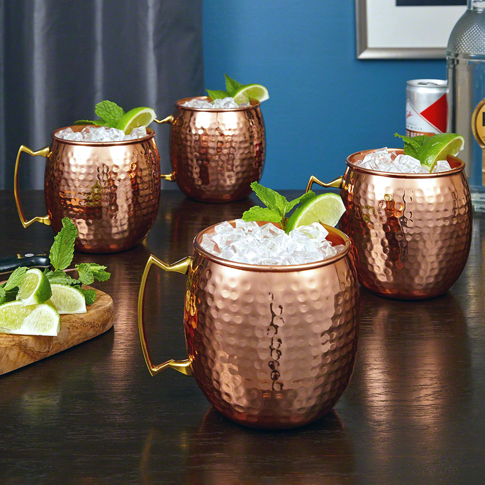 Everston Hammered Copper Mug 24oz, Set of 4