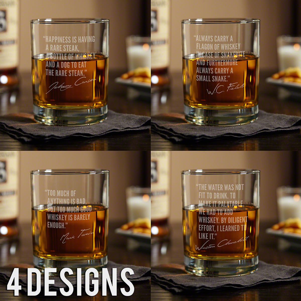 Famous Men of Whiskey Etched Rocks Glass (Select a Design)