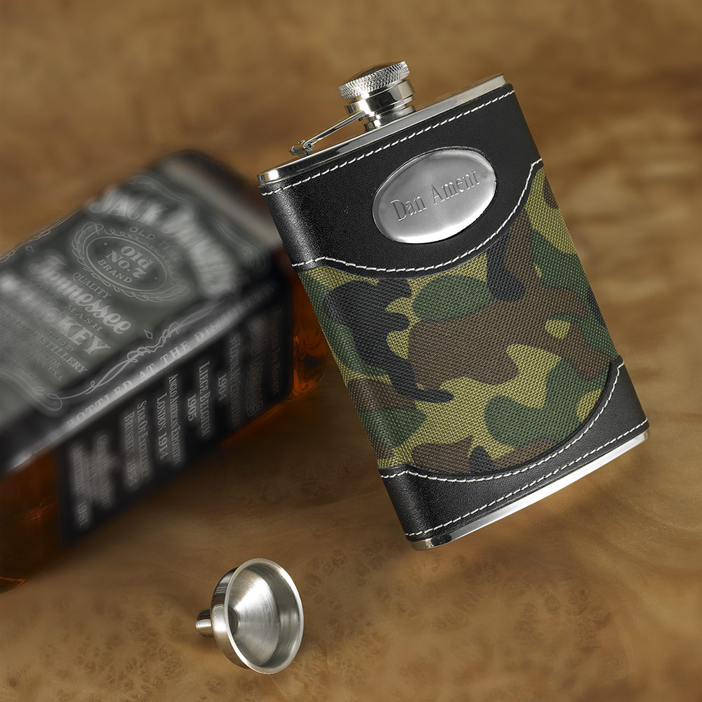 Gone Hunting Camo Personalized Flask