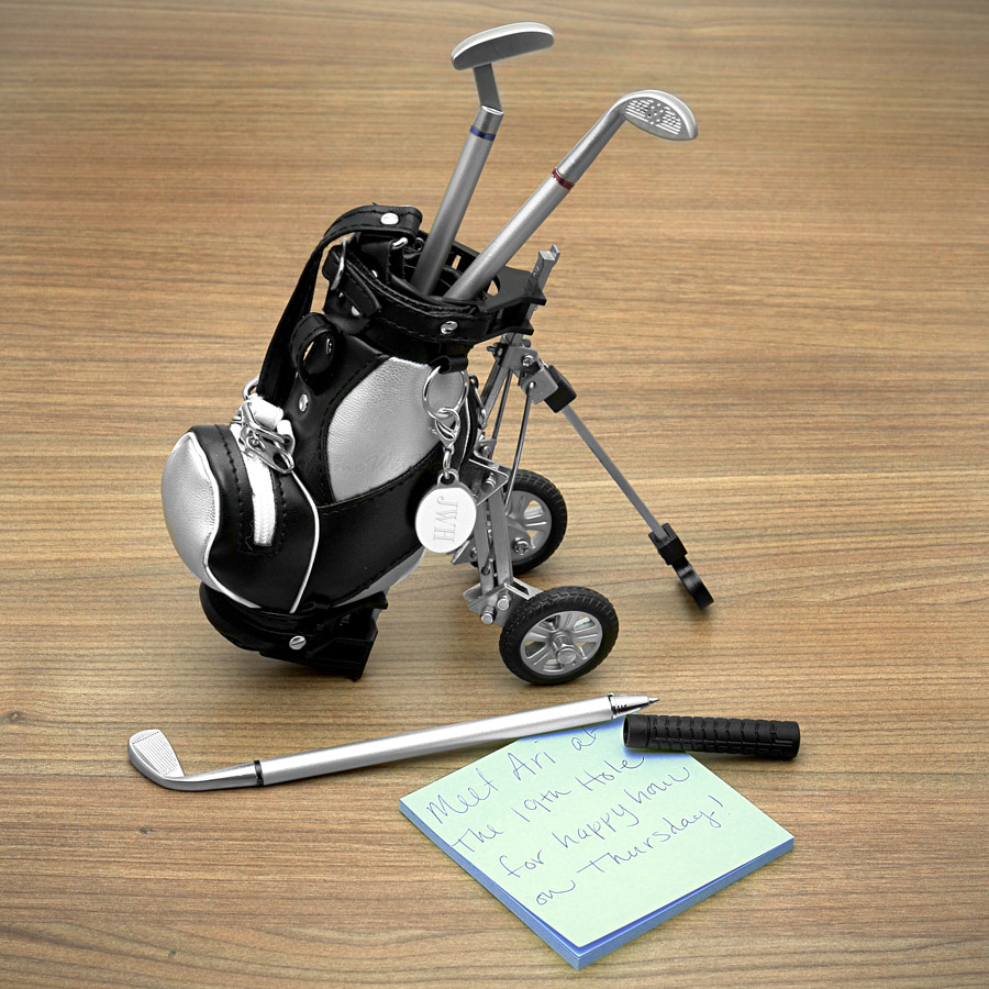golf pens with golf bag holder 4 piece set engravable. Black Bedroom Furniture Sets. Home Design Ideas
