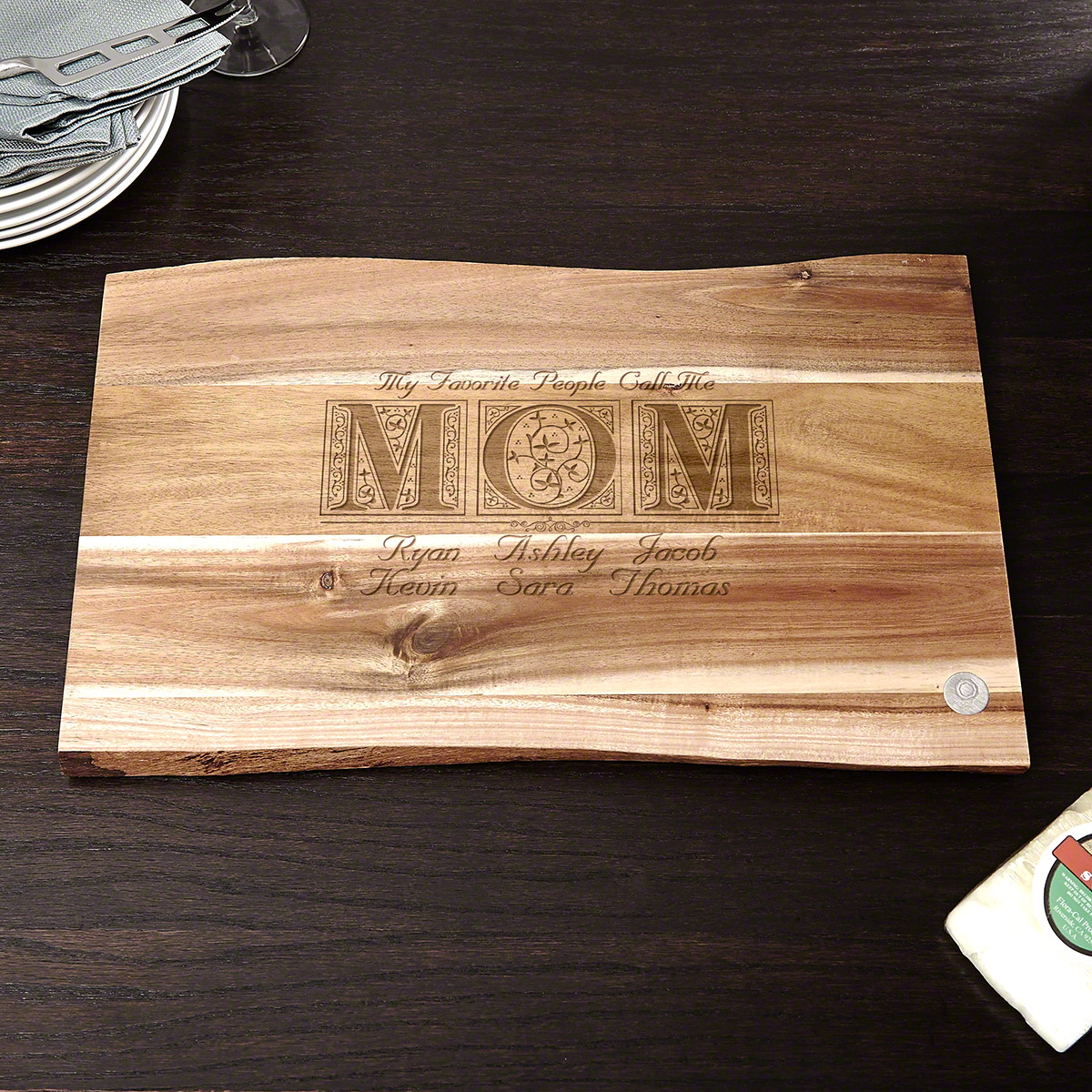Call Me Mom Acacia Wood Custom Cutting Board