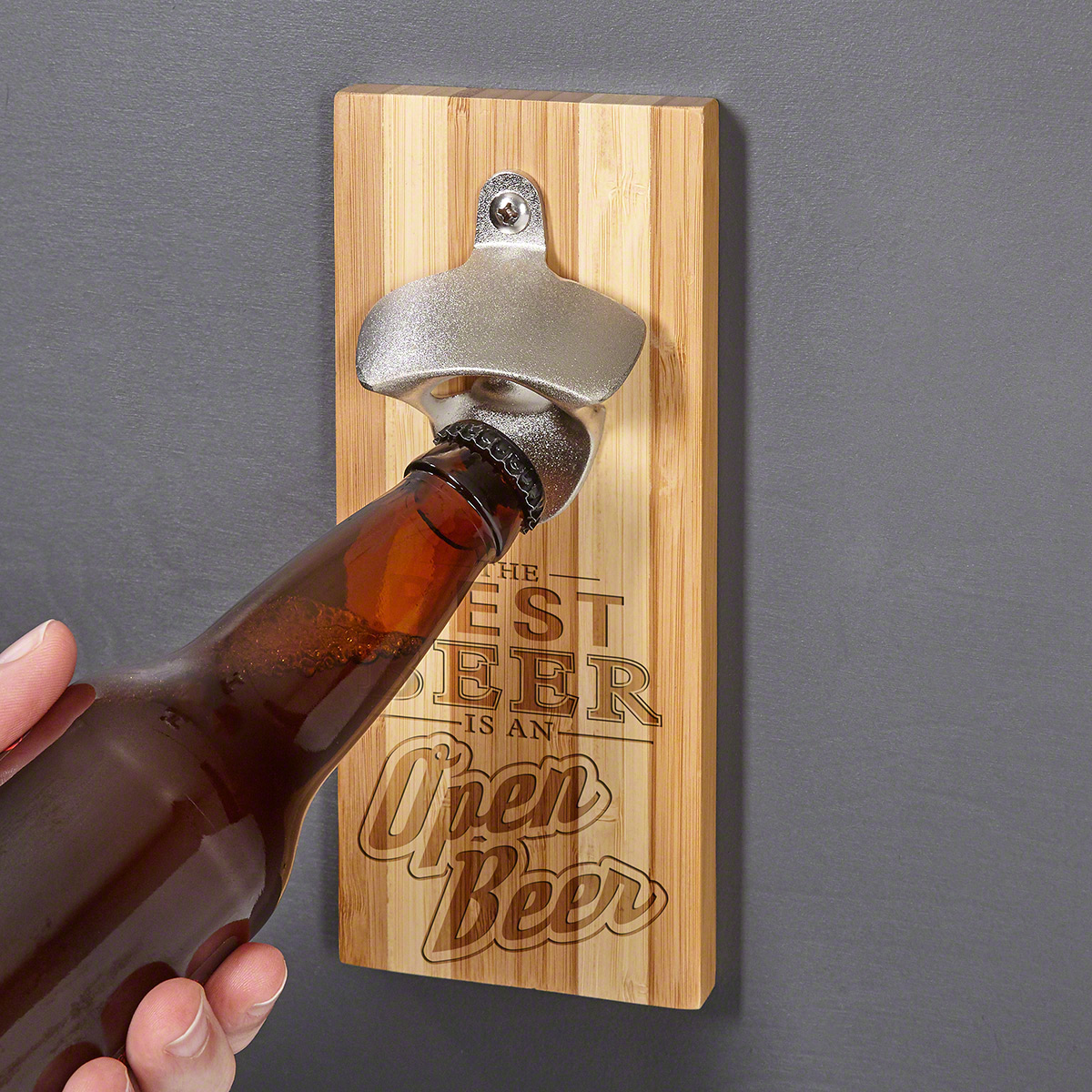 Only the Best Beer Bamboo Magnetic Bottle Opener