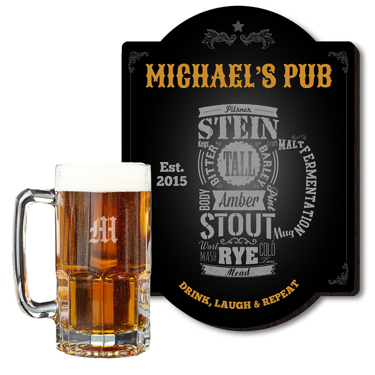 You should be able to show off your love of all things beer in your home bar. No one will be able to doubt your passion with this personalized Modern Beer bar sign and colossal beer mug. These combo sets are the best beer gifts for men on birthdays, holid #mug