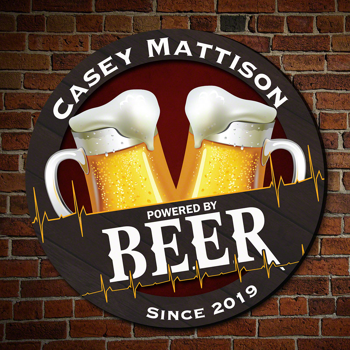 Powered by Beer Custom Wooden Bar Sign