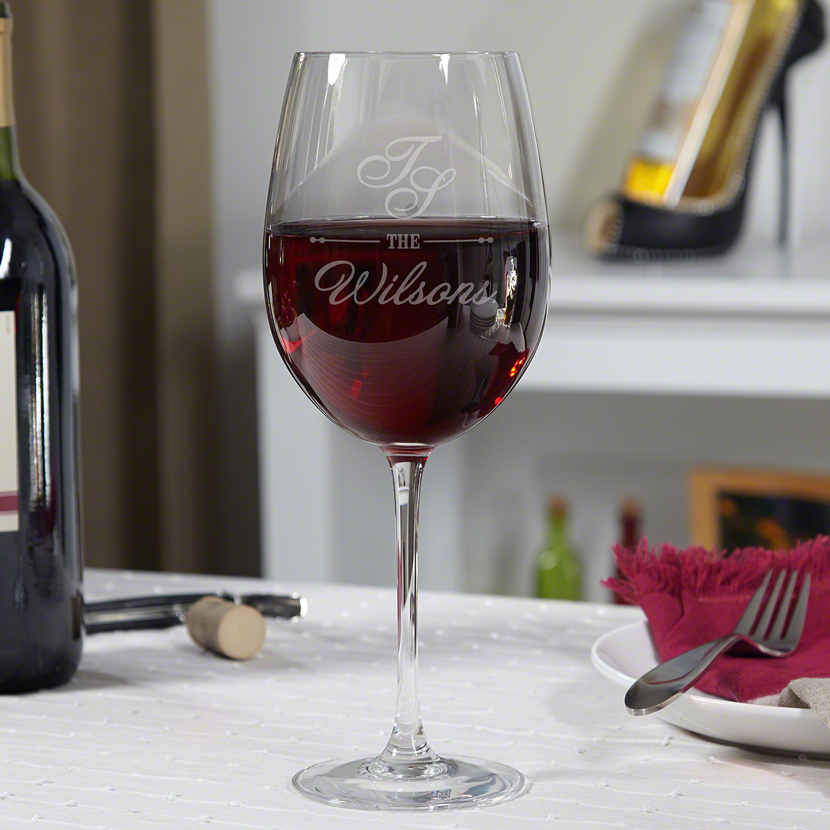 Sheridan Personalized Etched Wine Glass