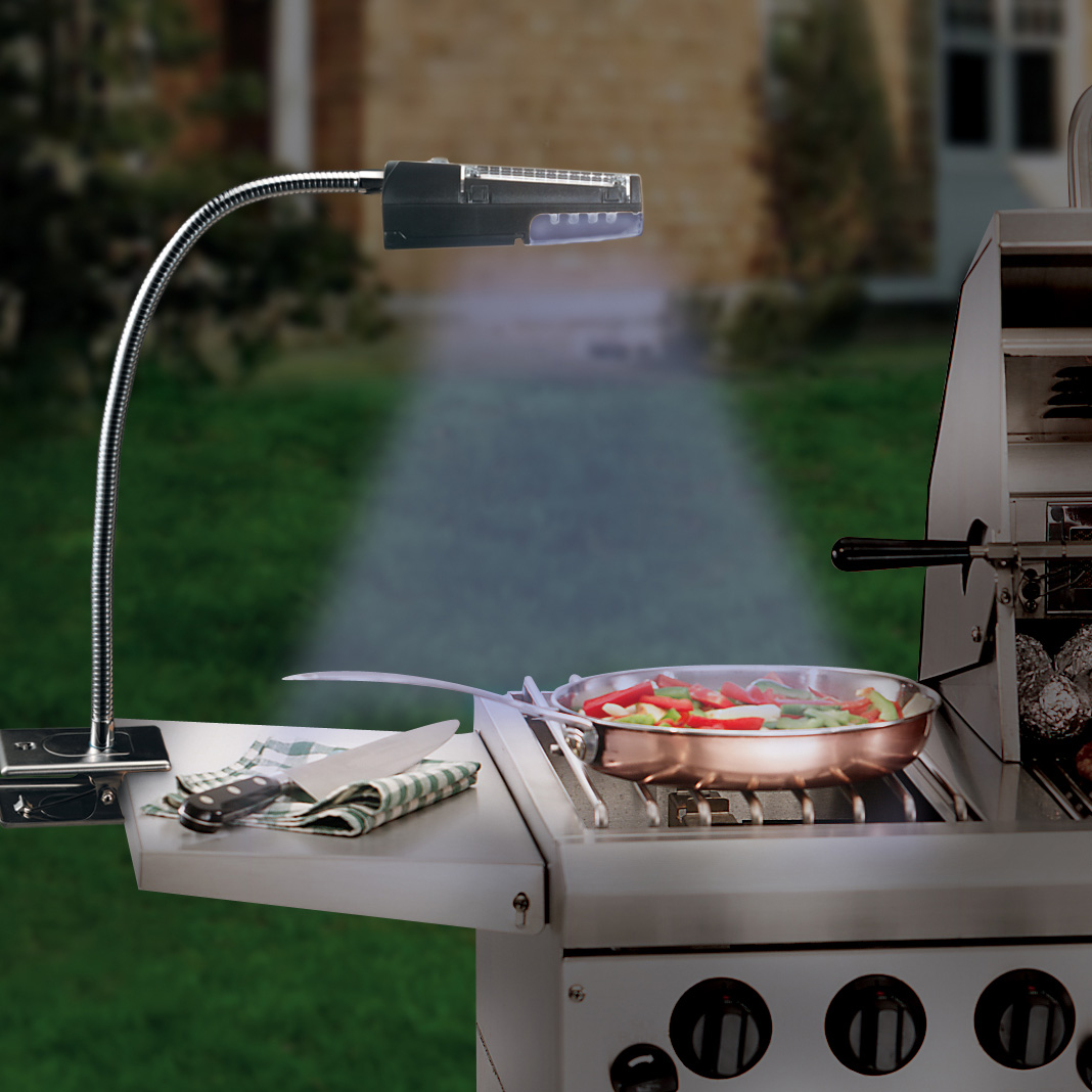 Solar Powered Grill ~ Flexible solar powered stainless steel grill light