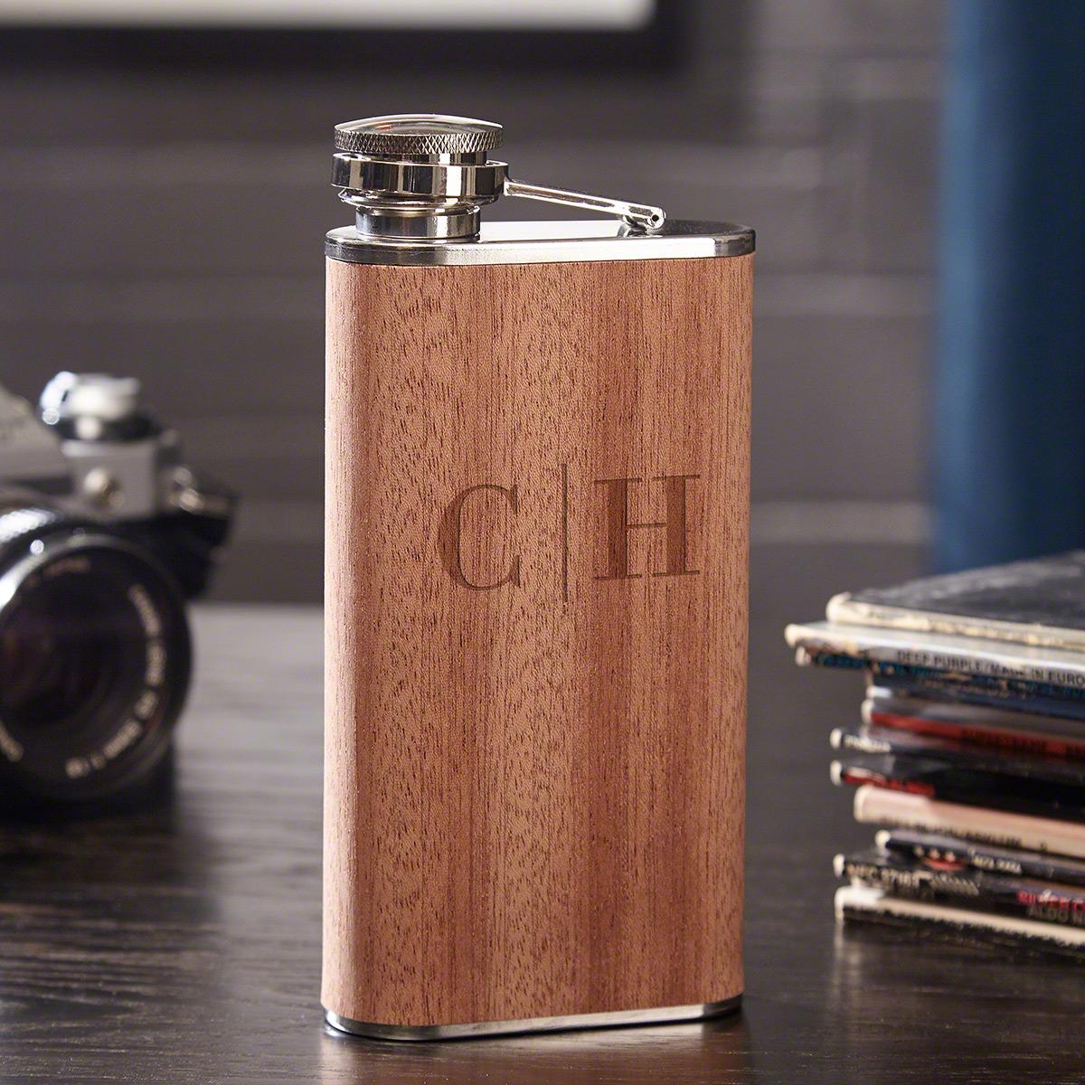 Quinton Monogram Wooden Hip Flask