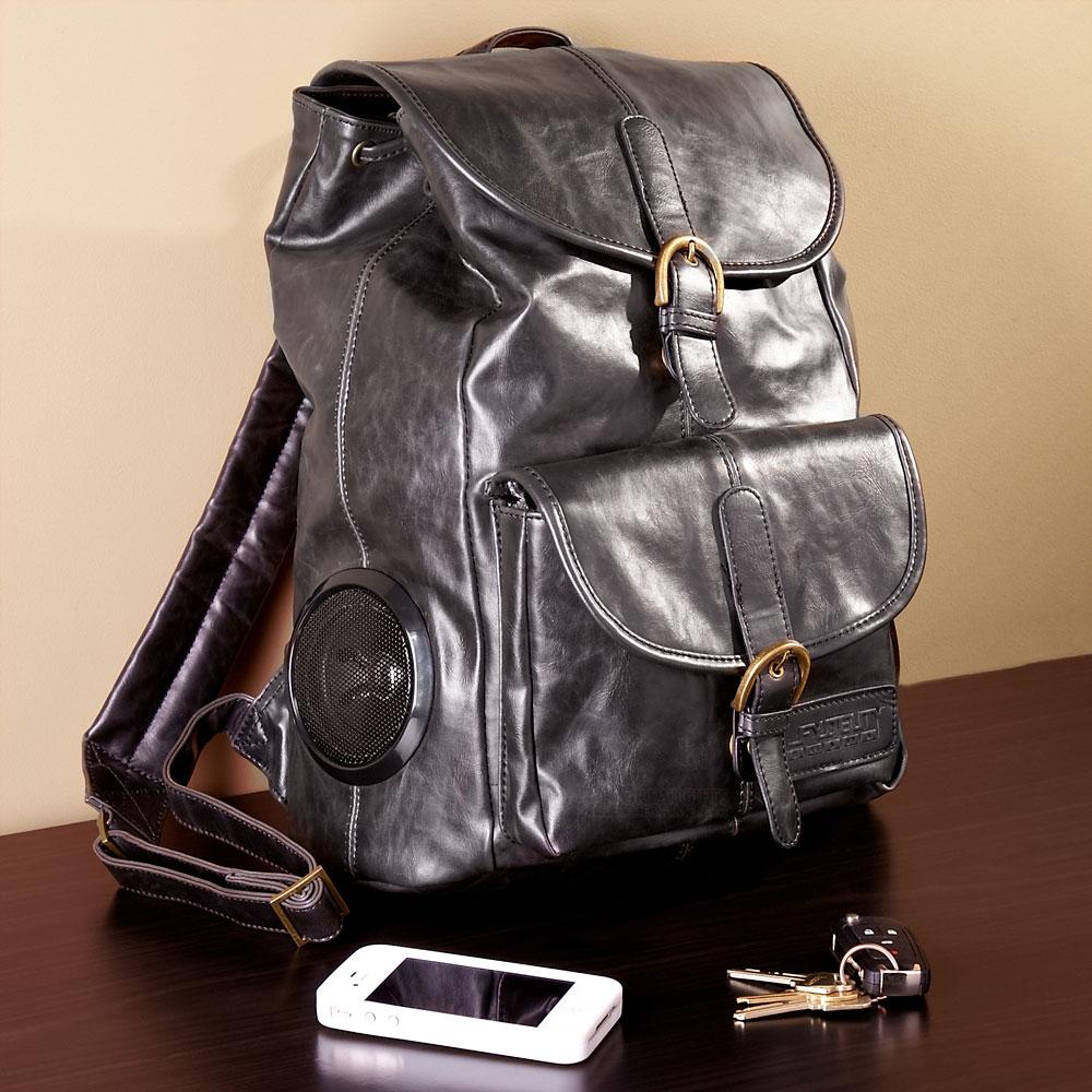 Rock My Way Leather Bookbag (Black)