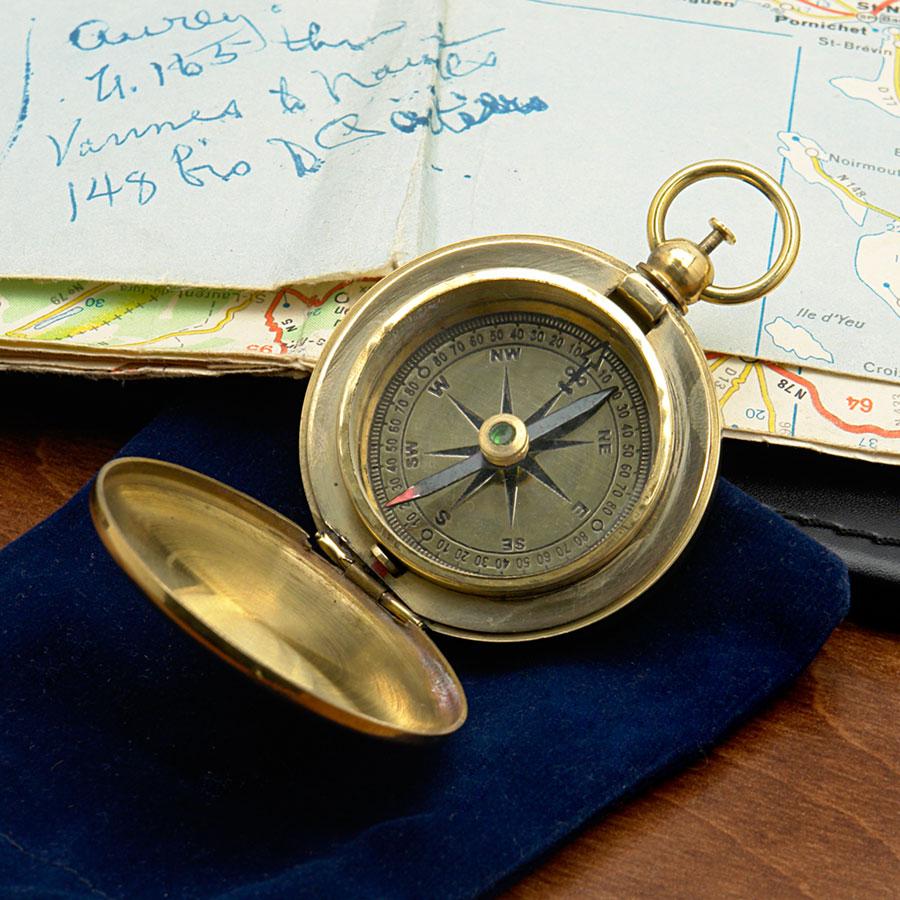 Vasco de Gama Brass Pocket Compass (Engravable)