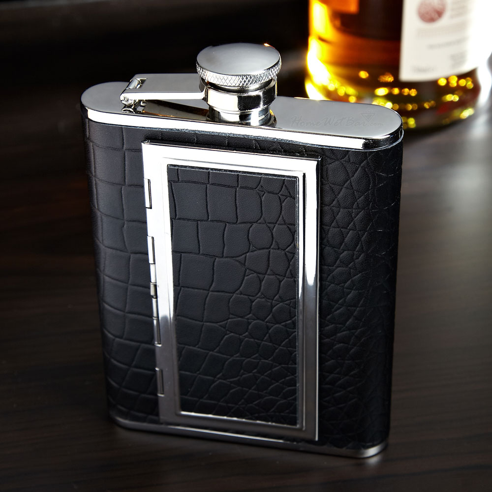 Textured Black Leather Cigarette Flask