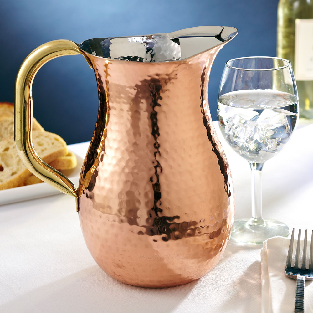 Hammered Copper Pitcher with Ice Guard, 2.25 Quarts