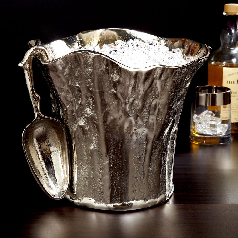 Tree Trunk Aluminum Ice Bucket with Scoop