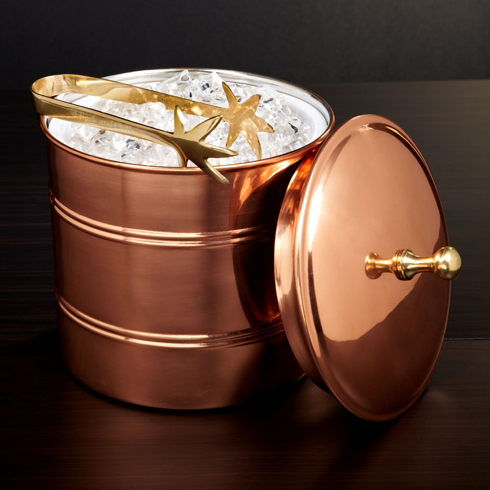 Banded Copper Ice Bucket with Tongs (Engravable)
