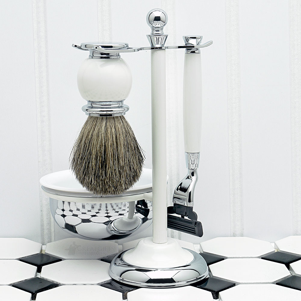 Timeless White Shaving Kit, with Lathering Bowl (Engravable)