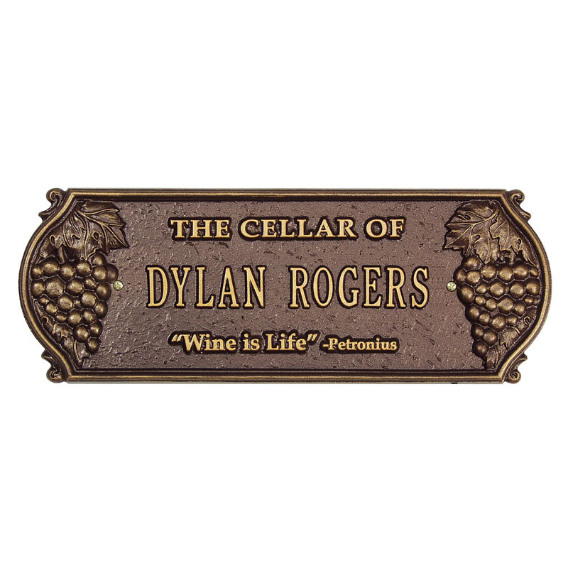 Wine Is Life Personalized Cellar Plaque-BG