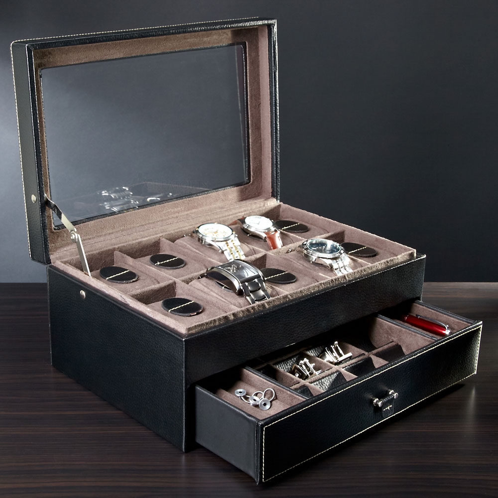 Treviso-Leather-Valet-Box-and-Ten-Watch-Display-Case-(Engravable)