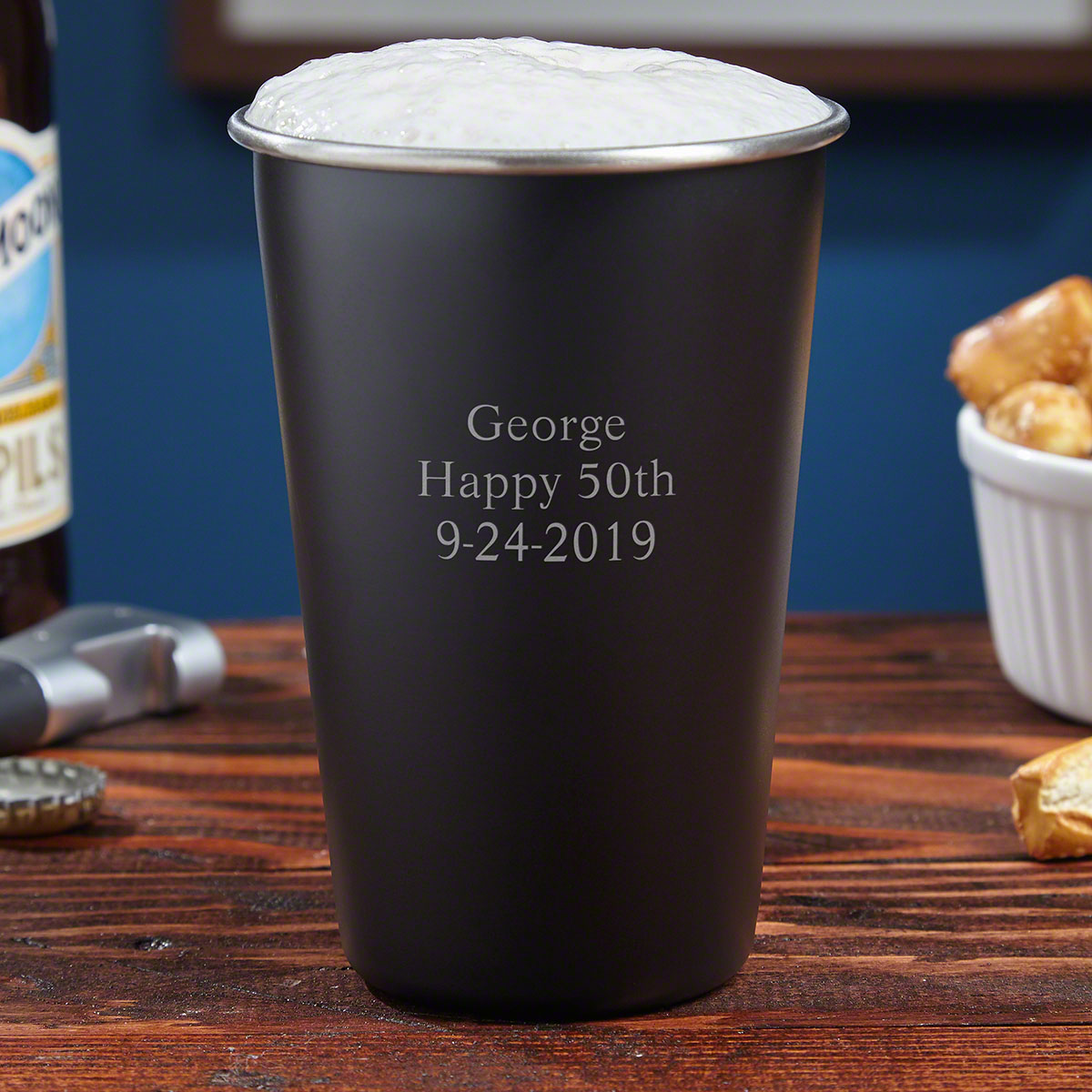 Blackout Personalized Stainless Steel Pint Glass