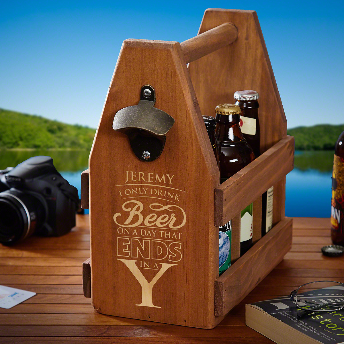 Day That Ends in Y Wooden Beer Caddy with Bottle Opener