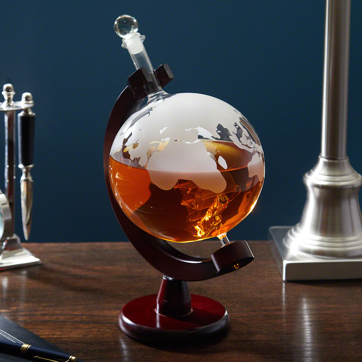 Waterman Liquor Decanter Globe with Wood Stand, Large