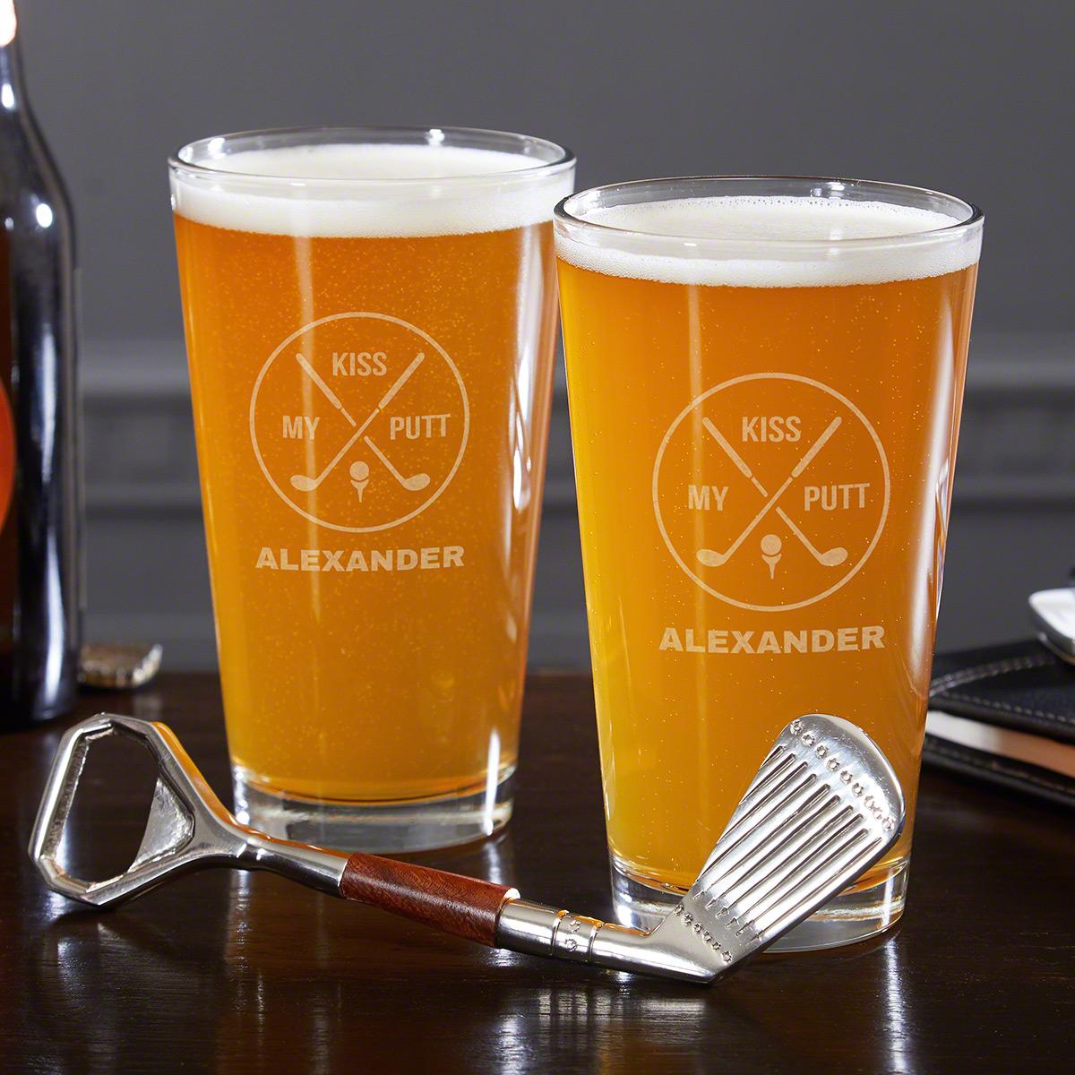 Kiss My Putt Custom Beer Glass and Bottle Opener Set