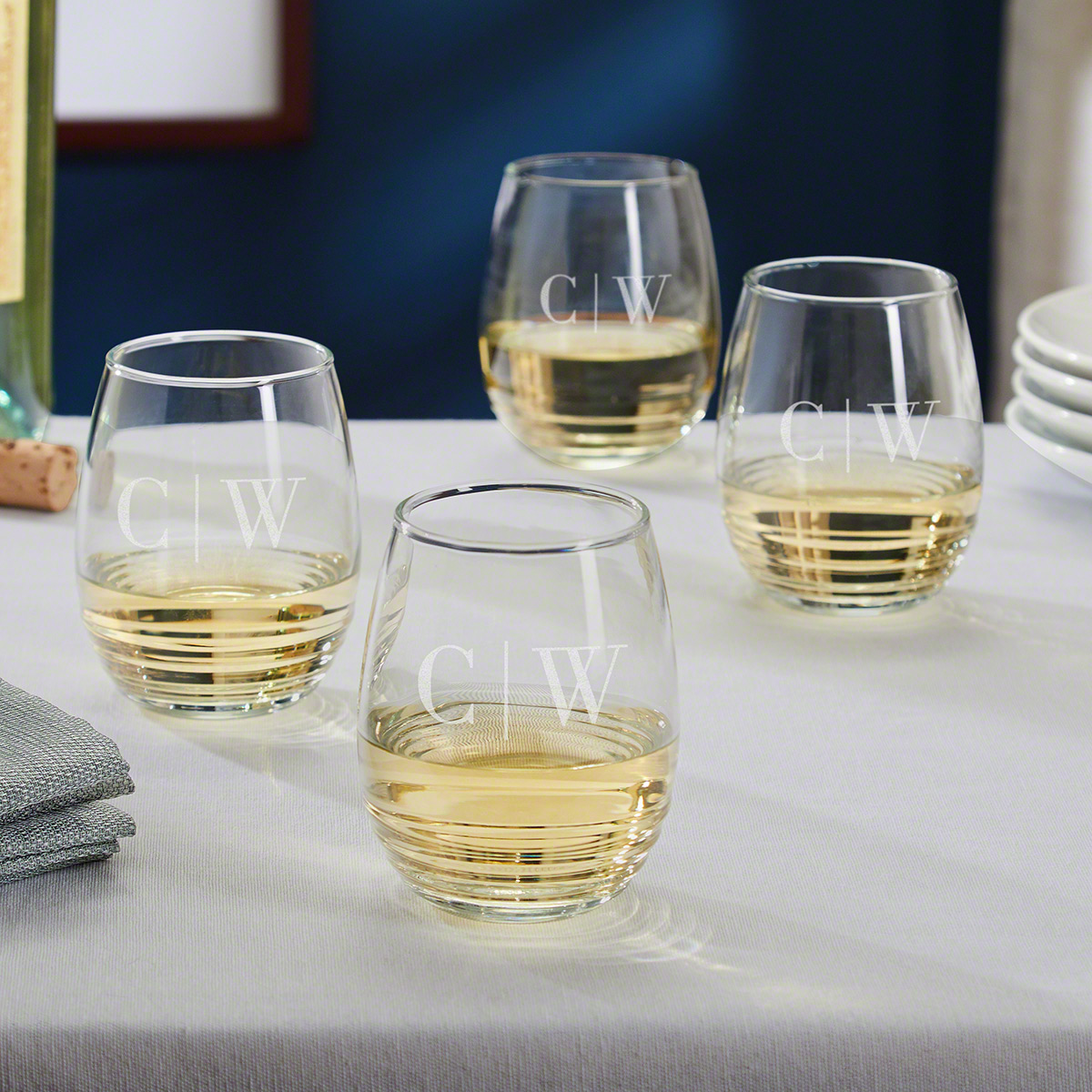 Quinton Personalized Stemless White Wine Glasses Set of 4