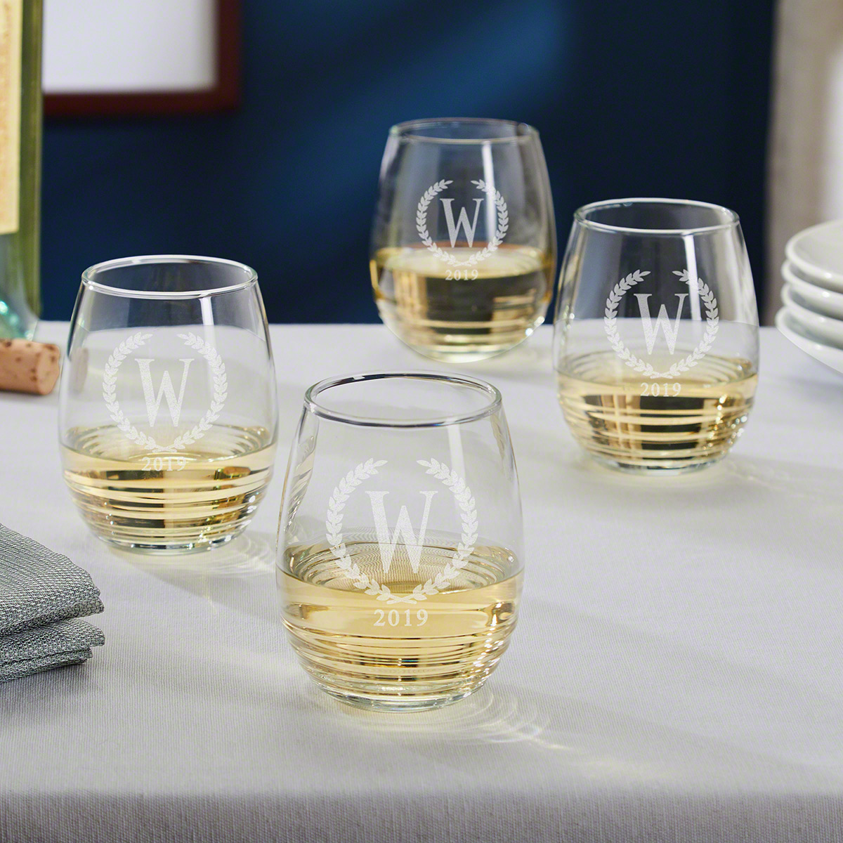 Statesman Personalized Stemless White Wine Glasses Set of 4