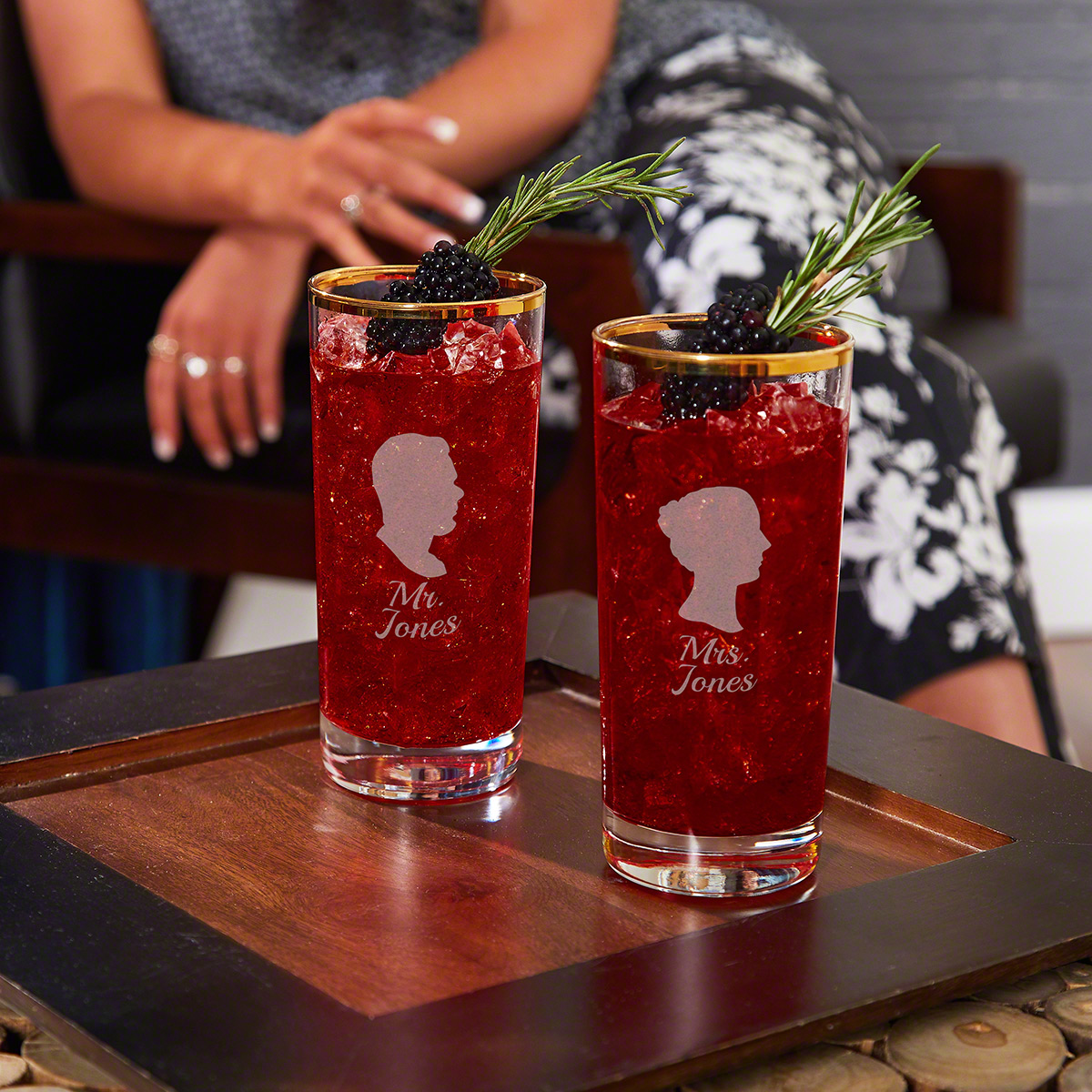 Mr. & Mrs. Gold Rim Personalized Cocktail Glasses