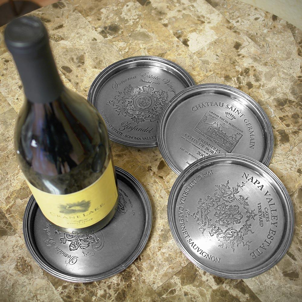 European Vineyard Pewter Wine Bottle Coasters, Set of 4