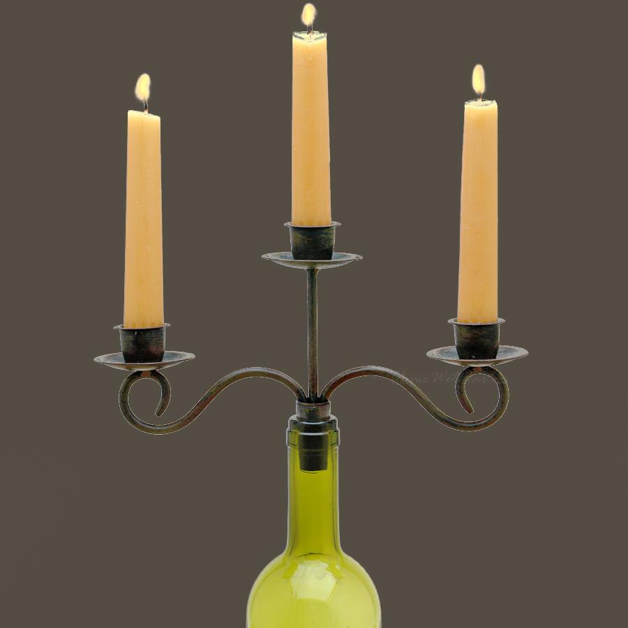 Antiqued Taper Candle Wine Bottle Candelabra