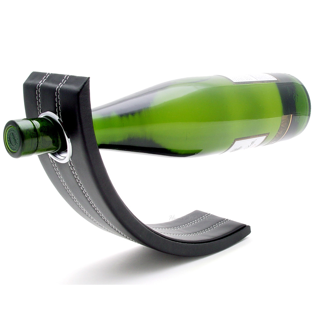 Gravity Leather Wine Bottle Holder Black