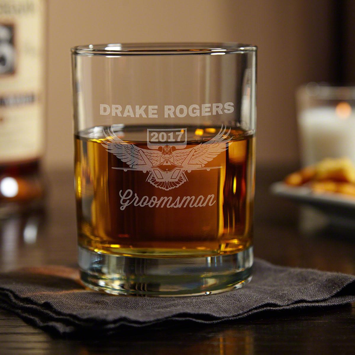 Wings Like Eagles Custom Whiskey Glass - Air Force Gift