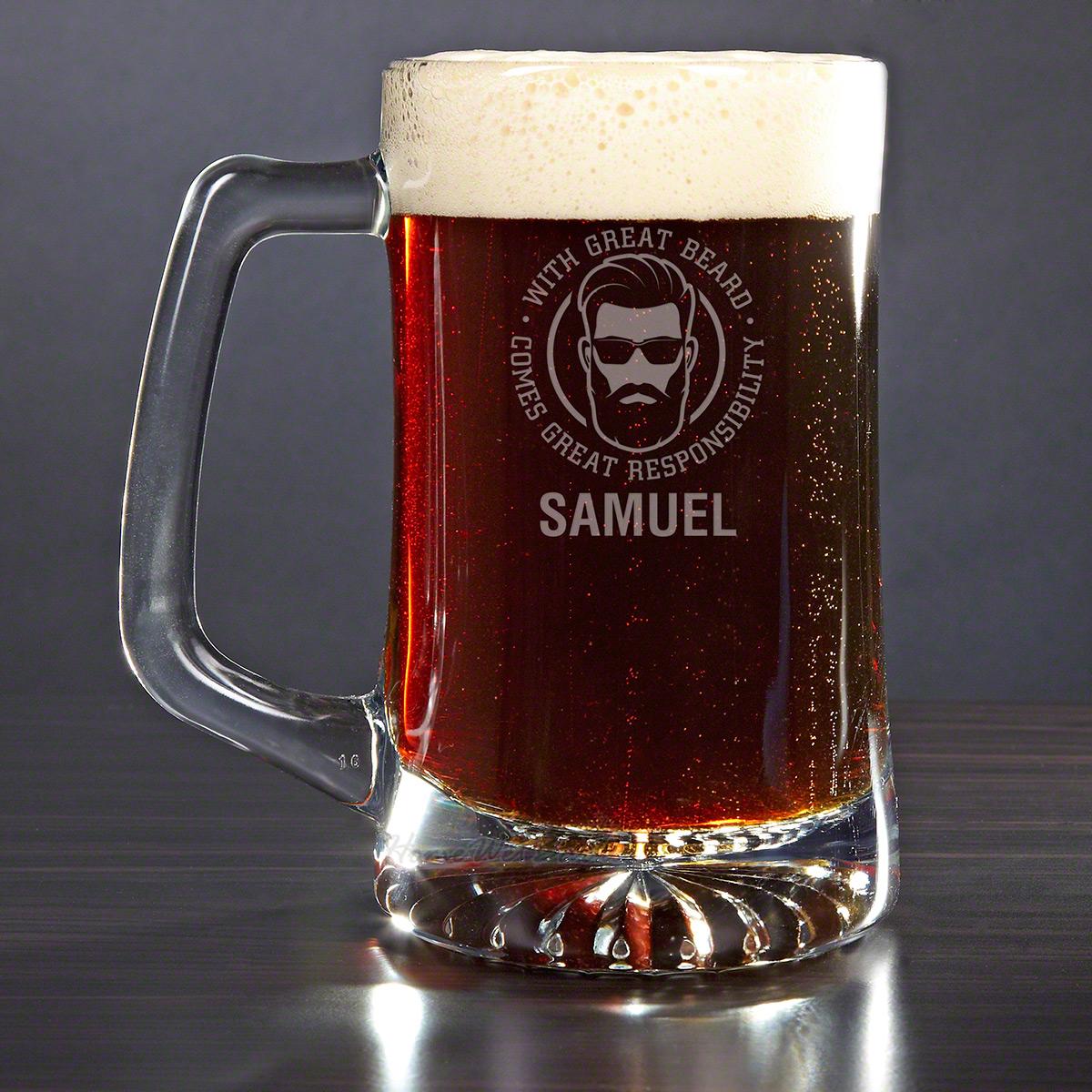 Great Beard Great Responsibility Custom Beer Mug Funny