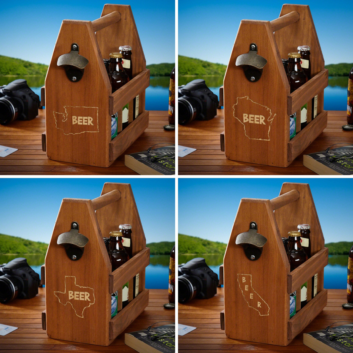 Home State Wooden Beer Tote - 12 States Available