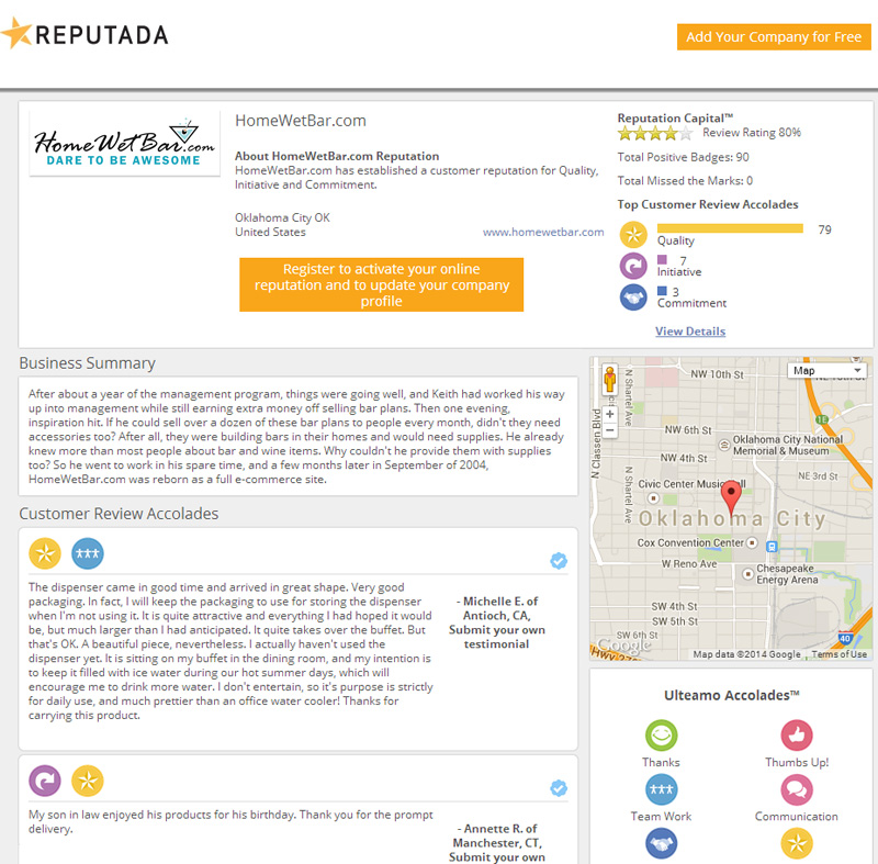 homewetbar reviews rated by Repudata