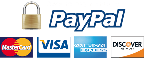 Secured by Paypal Visa Mastercard Discover American Express